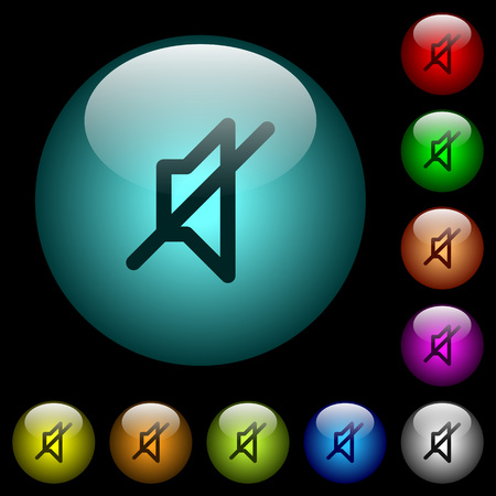 Mute icons in color illuminated spherical glass buttons on black background. Can be used to black or dark templates Illustration