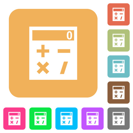 Pocket calculator flat icons on rounded square vivid color backgrounds.