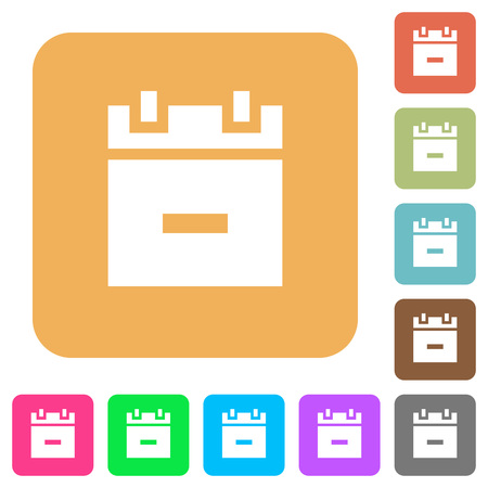Remove schedule item flat icons on rounded square vivid color backgrounds. Illustration