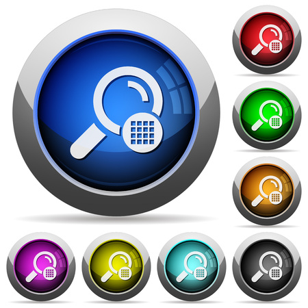 Arrange search results icons in round glossy buttons with steel frames Illustration