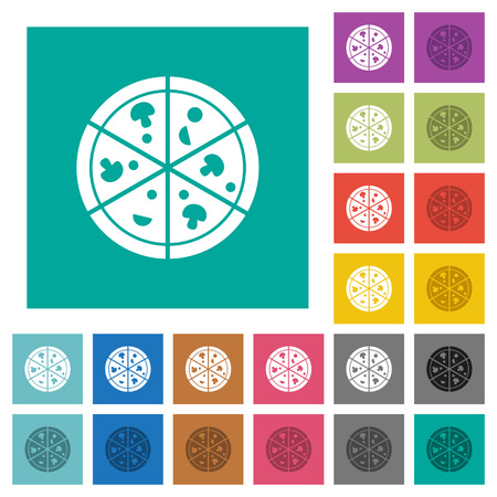 Pizza multi colored flat icons on plain square backgrounds. Included white and darker icon variations for hover or active effects.