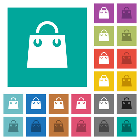 Shopping bag multi colored flat icons on plain square backgrounds. Included white and darker icon variations for hover or active effects.