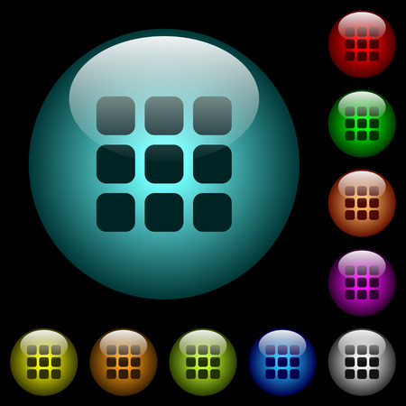 Small thumbnail view mode icons in color illuminated spherical glass buttons on black background. Can be used to black or dark templates