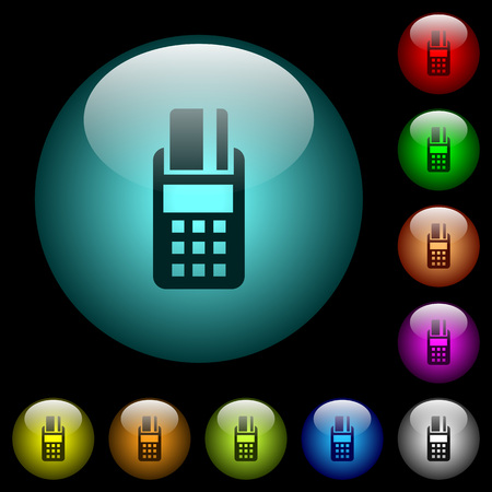 POS terminal icons in color illuminated spherical glass buttons on black background. Can be used to black or dark templates