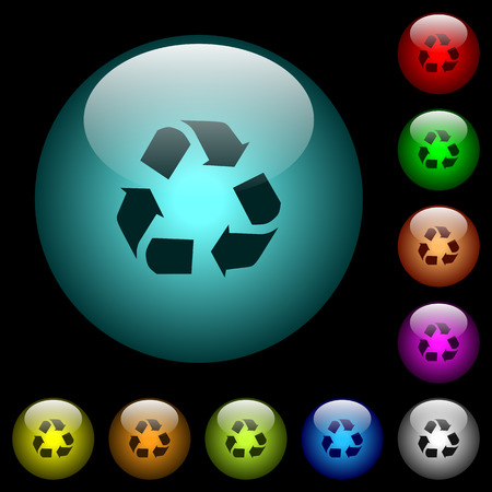Recycling icons in color illuminated spherical glass buttons on black background. Can be used to black or dark templates