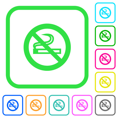 No smoking sign vivid colored flat icons in curved borders on white background