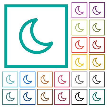 Moon shape flat color icons with quadrant frames on white background