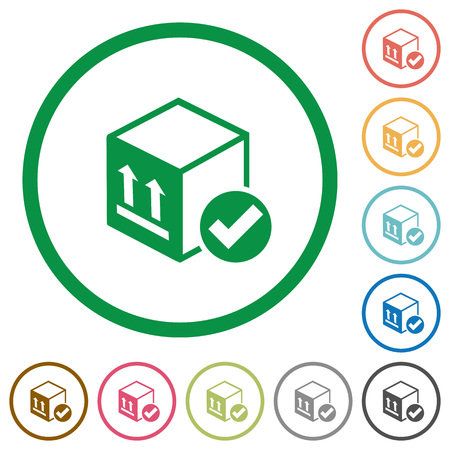 Package delivered flat color icons in round outlines on white background Illustration