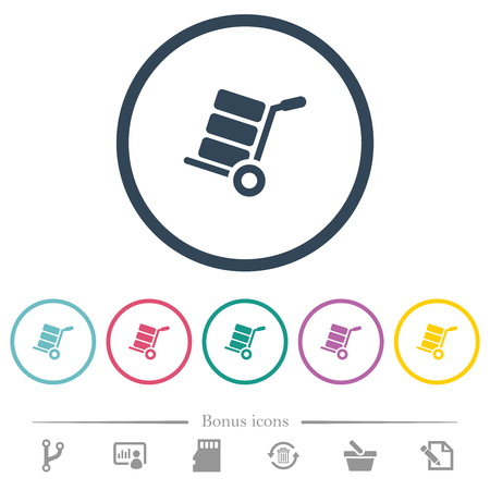 Hand truck with boxes flat color icons in round outlines. 6 bonus icons included. Illustration
