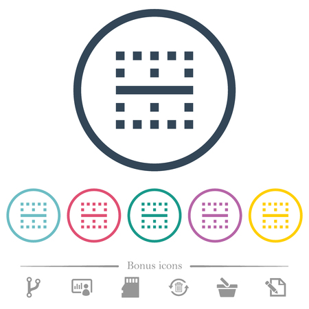 Horizontal border flat color icons in round outlines. 6 bonus icons included.