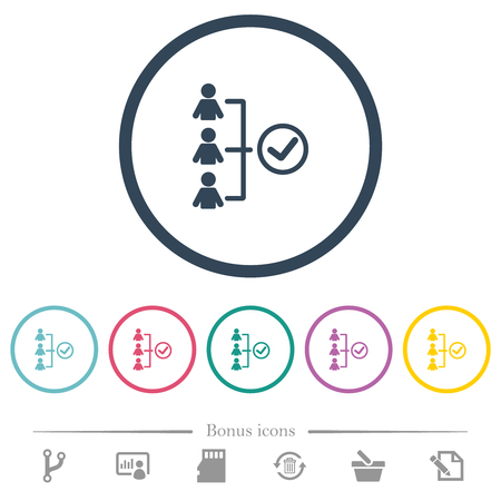 Successful teamwork flat color icons in round outlines. 6 bonus icons included.