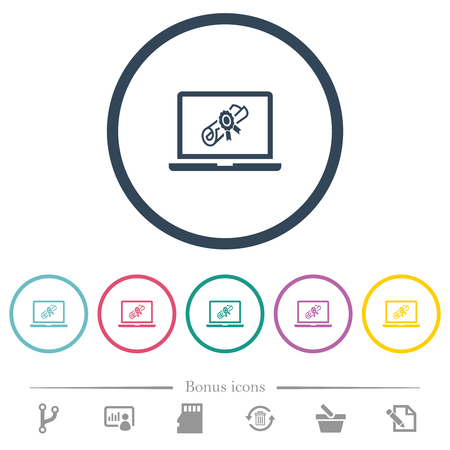 Webinar on laptop flat color icons in round outlines. 6 bonus icons included.