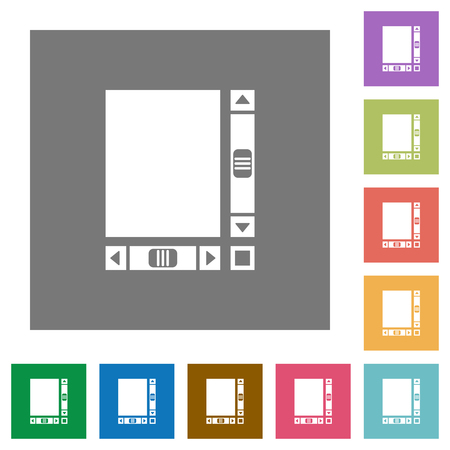 Blank document with scroll bars flat icons on simple color square backgrounds
