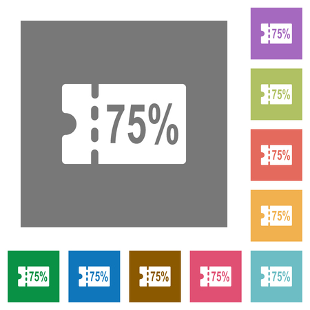75 percent discount coupon flat icons on simple color square backgrounds Illustration