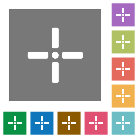 Precise cursor flat icons on simple color square backgrounds