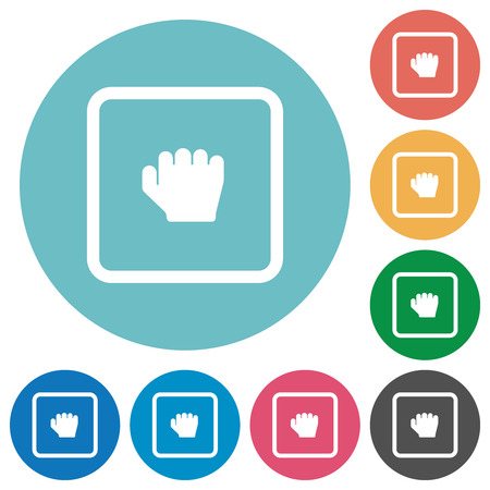 Grab object flat white icons on round color backgrounds
