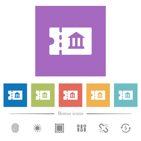 Museum discount coupon flat white icons in square backgrounds. 6 bonus icons included.