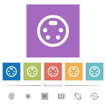 S-video connector flat white icons in square backgrounds. 6 bonus icons included.