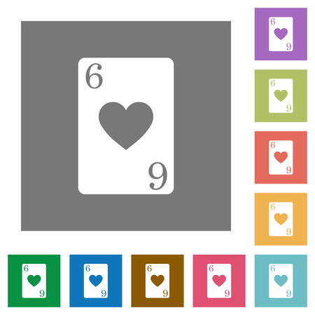 Six of hearts card flat icons on simple color square backgrounds