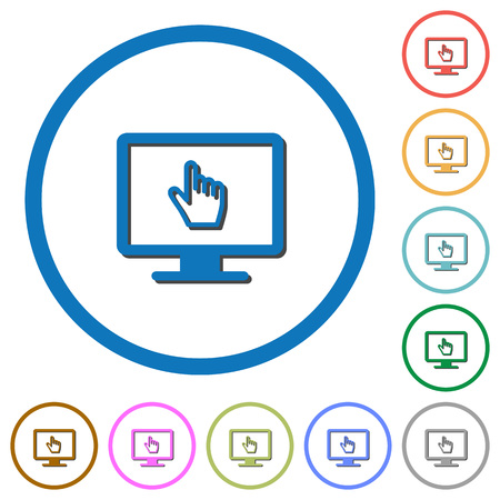 Monitor with pointing cursor flat color vector icons with shadows in round outlines on white background