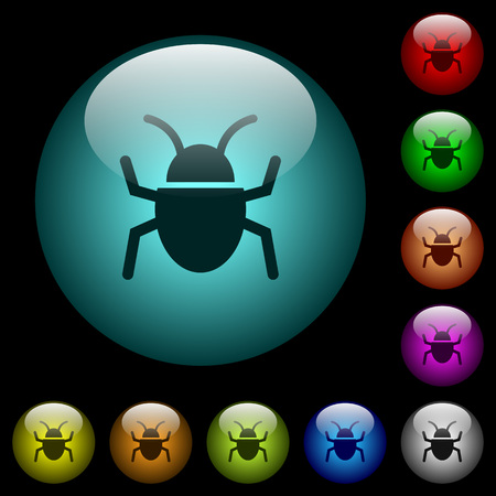 Bug icons in color illuminated spherical glass buttons on black background. Can be used to black or dark templates
