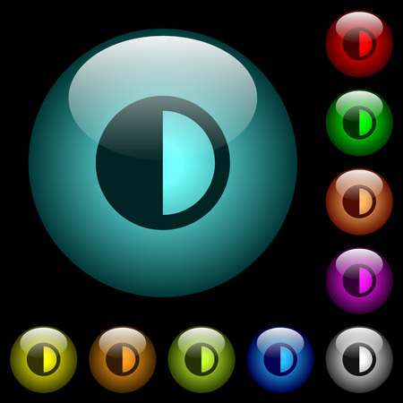 Contrast control icons in color illuminated spherical glass buttons on black background. Can be used to black or dark templates  イラスト・ベクター素材