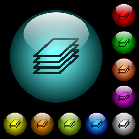 Printing papers icons in color illuminated spherical glass buttons on black background. Can be used to black or dark templates