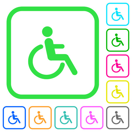 Disability vivid colored flat icons in curved borders on white background