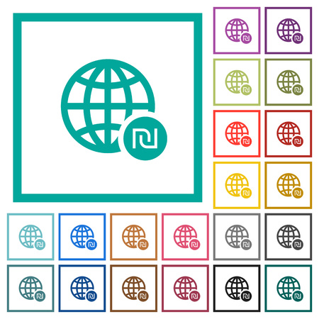 Online Shekel payment flat color icons with quadrant frames on white background Illustration