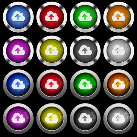 Cloud upload white icons in round glossy buttons with steel frames on black background. The buttons are in two different styles and eight colors.