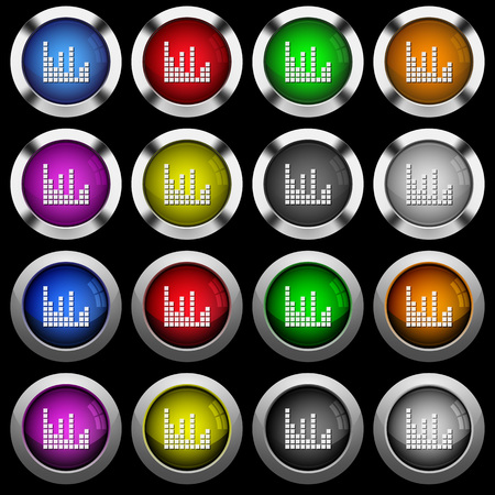 Sound bars white icons in round glossy buttons with steel frames on black background. The buttons are in two different styles and eight colors.