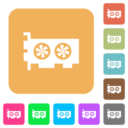 Computer video card flat icons on rounded square vivid color backgrounds. Illustration