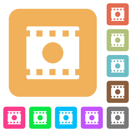 Movie record flat icons on rounded square vivid color backgrounds. Çizim