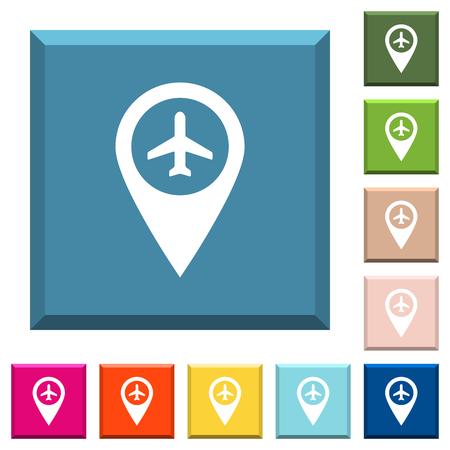 Airport GPS map location white icons on edged square buttons in various trendy colors Ilustração