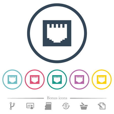 Ethernet connector flat color icons in round outlines. 6 bonus icons included. Vektorové ilustrace