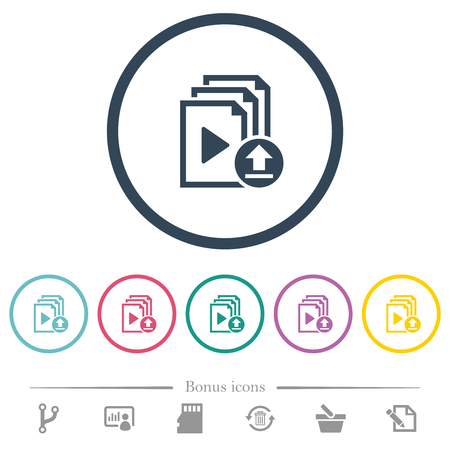 Upload playlist flat color icons in round outlines. 6 bonus icons included.