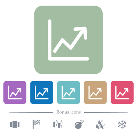 Line graph white flat icons on color rounded square backgrounds. 6 bonus icons included Illustration