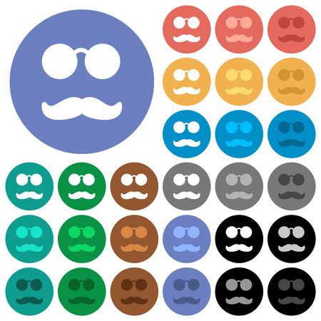 Glasses and mustache multi colored flat icons on round backgrounds. Included white, light and dark icon variations for hover and active status effects, and bonus shades.