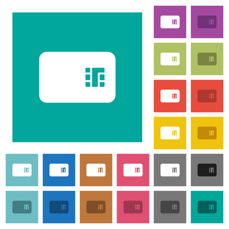 Carte à puce icônes plates multicolores sur fond carré uni. Variations d'icônes blanches et plus sombres incluses pour les effets de survol ou actifs. Vecteurs