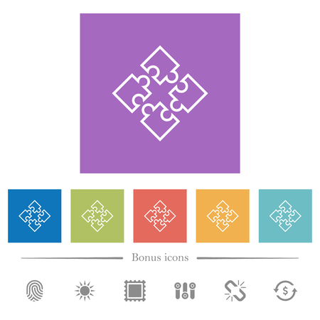 Puzzle pieces flat white icons in square backgrounds. 6 bonus icons included. Illustration