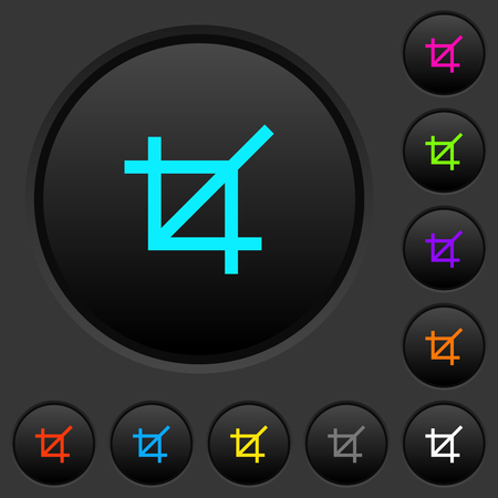 Crop tool dark push buttons with vivid color icons on dark grey background