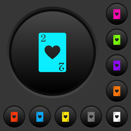 Two of hearts card dark push buttons with vivid color icons on dark grey background Foto de archivo - 111962427