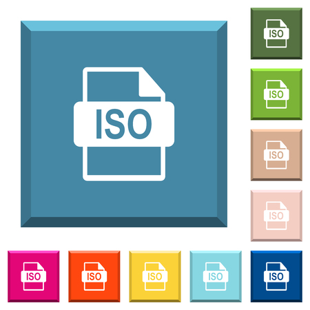 ISO file format white icons on edged square buttons in various trendy colors