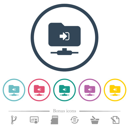 FTP login flat color icons in round outlines. 6 bonus icons included. Vecteurs