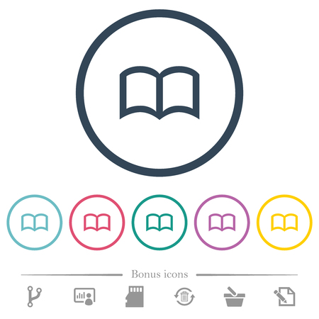Open book flat color icons in round outlines. 6 bonus icons included.