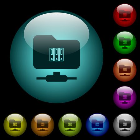 FTP archive icons in color illuminated spherical glass buttons on black background. Can be used to black or dark templates Illusztráció