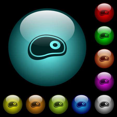 Steak icons in color illuminated spherical glass buttons on black background. Can be used to black or dark templates