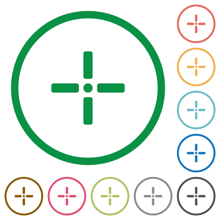 Precise cursor flat color icons in round outlines on white background Reklamní fotografie - 127716302