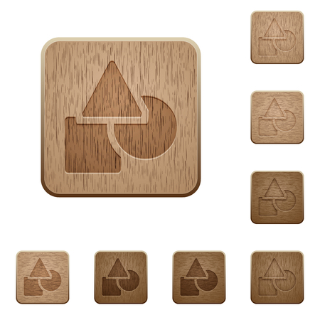 Basic geometric shapes on rounded square carved wooden button styles