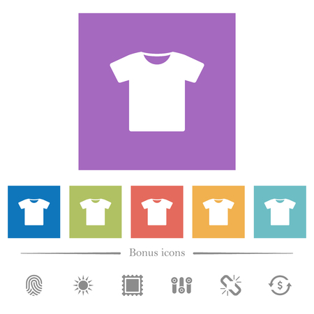 T-shirt flat white icons in square backgrounds. 6 bonus icons included.